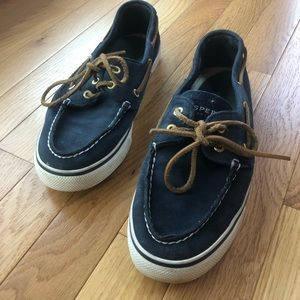 Navy blue sperry top siders boat shoes